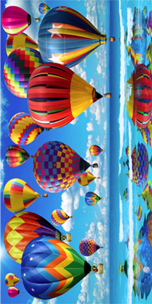 LARGE COTTON VELOUR BEACH HOLIDAY TOWEL '' HOT AIR BALLOONS DESIGN ''
